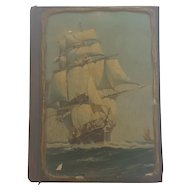 """Vintage 1942 """"New Universal Self-Pronouncing Dictionary""""  With Sailing Ship Cover"""