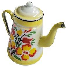 Cute Vintage Graniteware Floral Motif Enamel Coffee Pot