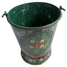 Vintage Folk Art Hand Painted Green Floral Design Bucket