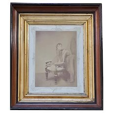 Antique Framed Victorian Photograph of Young Girl in Chair