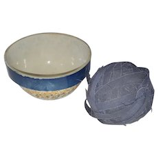 Vintage Blue & Orange Spongeware Pottery Mixing Bowl & Authentic PA. Blue Rag Ball