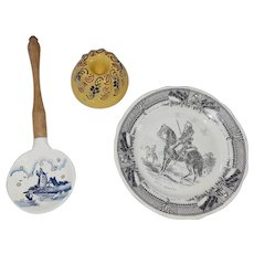 Trio of Vintage Pottery Items inc. Transferware Plate, Mini Mold, and Strainer