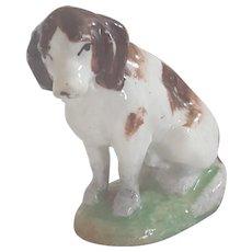 "19th C. Miniature 2 1/2"" Tall Staffordshire Brown & White Spaniel Dog"