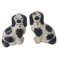 "Pair of Vintage 5 1/2""  English Staffordshire Black & White Dogs"