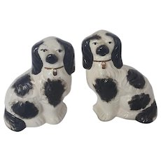 "Pair of Vintage 5 1/2""  English Staffordshire Black & White Dogs"