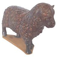 Rare Vintage Redware Pottery Brown Slip Glaze Lamb/Sheep Whimsy