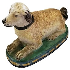 Antique Mid to Late 19th C. European Faience Recumbent Dog Figure