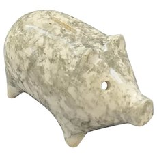 Antique Green and White Spongeware Pottery Piggy Bank