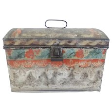 19th C. Primitive PA. Folk Art Tin Tole Painted Dome Top Box - Red Tag Sale Item