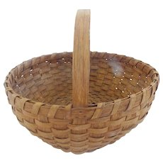 Large Late 19th C. Primitive Oak Splint Round Gathering Basket From Sun Valley Collection