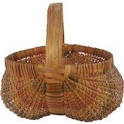 Rare Antique Primitive Folk Art Buttocks Basket With Red and Blue Striped Design