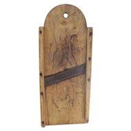 19th C. Primitive Folk Art Tombstone Top Slaw Board Kraut Cutter