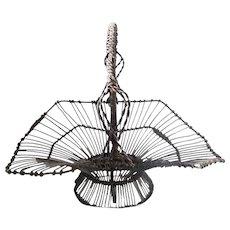 Vintage Folk Art Wire Gathering Basket