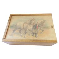 Vintage Sliding Lid Wood Box With Lithograph of Man and 2 White Horses