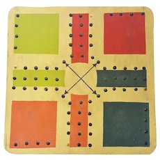 Vintage Primitive Folk Art Polychrome Painted Aggravation Game Board