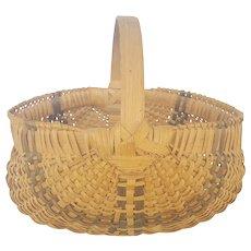 Vintage Primitive American Folk Art Buttocks Basket With Black Striped Design