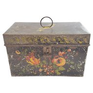 19th C. Tin Tole Painted Floral Design Document Box