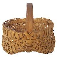 Small Vintage Primitive Folk Art Buttocks Basket