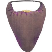 Late 19th C. Primitive Folk Art Purple Velvet Pin Cushion