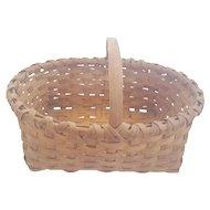 Vintage Primitive Hand Made Oval Market Basket