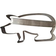 Vintage Primitive Folk Art Tin Open Back Pig Cookie Cutter