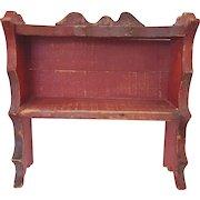 Vintage Primitive Folk Art Red Painted Hanging Shelf