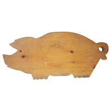 "Large 19"" x 8 1/2"" Folk Art Pig Cutting Board"