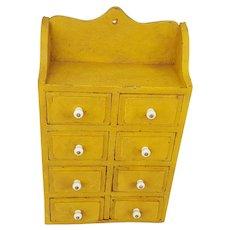 Vintage Primitive Folk Art 8-Drawer Spice Box in Mustard Paint