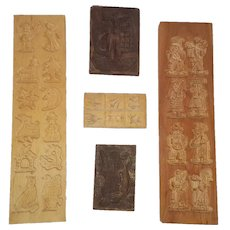 Group of 5 Vintage Primitive Folk Art Springerle Molds