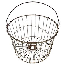 Diminutive Vintage Primitive Wire Egg Basket with Swing Handle from my Collection