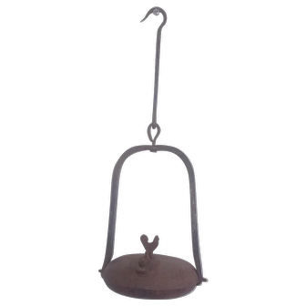 19th C. Primitive Wrought Iron Oil Lamp w/Rooster Finial from my Collection