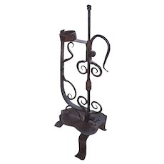Unusual Vintage Primitive Folk Art Hand Wrought Iron Candle Stand