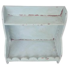 Vintage Primitive Folk Art Painted Shelf with Scalloped Design
