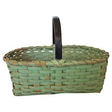 "Large 19"" Long Vintage Green & Black Painted Market Basket"
