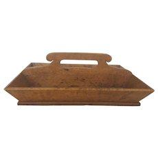 Vintage Folk Art Bird's-Eye Maple & Oak Knife Box Cutlery Tray