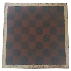 Late 19th C. Primitive Folk Art Single Board Red, Black, & White  Game Board