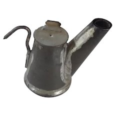 Early 1900's Handmade Tin Pitcher Form Miner's Oil Lamp