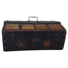 19th C. Primitive New England Folk Art Document Box with Hide Covered Lid