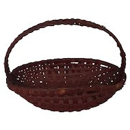 Antique Primitive Folk Art Small Oval Gathering Basket in Red Paint