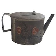 Early 19th C. Primitive PA. Folk Art Tin Toleware Teapot