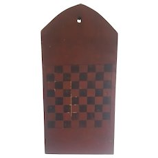 Antique Folk Art Tombstone Form Checkers/Chess Game Board from my Collection