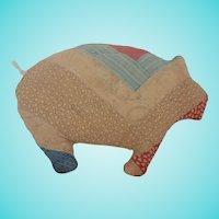 Vintage Primitive Folk Art Pig Pillow Made from Old Quilt