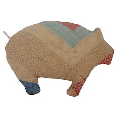 Vintage Primitive Folk Art Pig Pillow Made from Old Quilt
