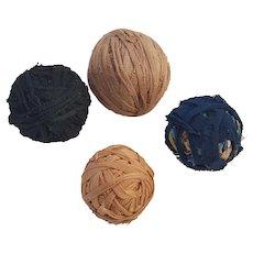Group of 4 Vintage Primitive Authentic Rag Balls