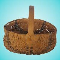 Vintage Primitive Folk Art Buttocks Basket with Midnight Blue Stripes