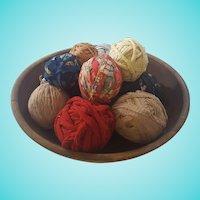 12 Authentic Rag Balls in Antique Dough Bowl