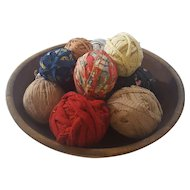 12 Authentic Rag Balls in Antique Dough Bowl