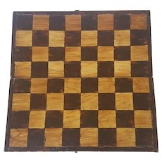 Vintage Primitive Folk Art Painted Folding Chess Checker Game Board