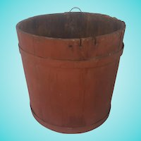 Antique Primitive Oak Bucket in Old Barn Red Paint