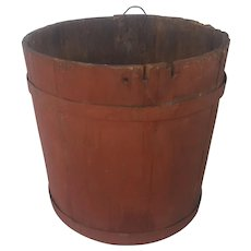 Antique Primitive Oak Bucket in Old Barn Red Paint